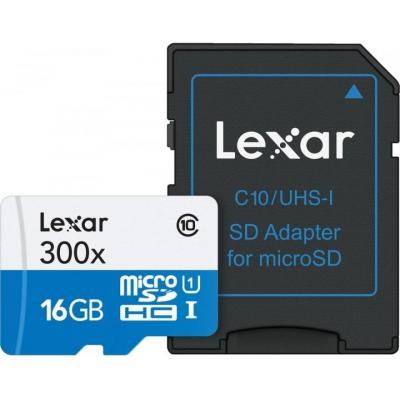 Lexar flashgeheugen: 16GB microSDHC - Zwart, Blauw, Wit