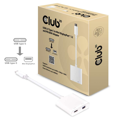 CLUB3D USB 3.1 Type C to Mini DisplayPort 1.2 and PD 60 W Adapter Kabel adapter - Wit
