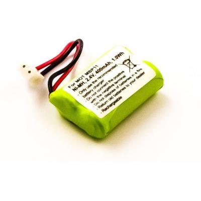 Microbattery : 1Wh Baby Monitor Battery, NiMH 2.4V 400mAh - Zwart, Groen, Rood, Wit