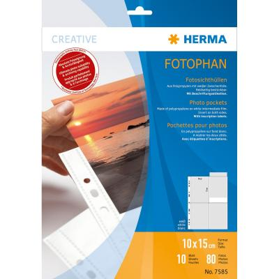 Herma showtas: Fotophan transparent photo pockets 10x15 cm portrait white 10 pcs. - Transparant, Wit