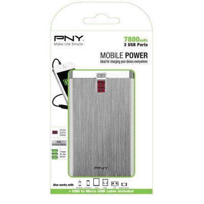PNY PowerPack Digital 7800 Powerbank - Aluminium