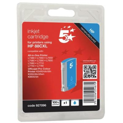 5star inktcartridge: Compatible Inkjet Cartridge Page Life 1200pp Cyan, HP No. 88XL C9391A Equivalent - Zwart