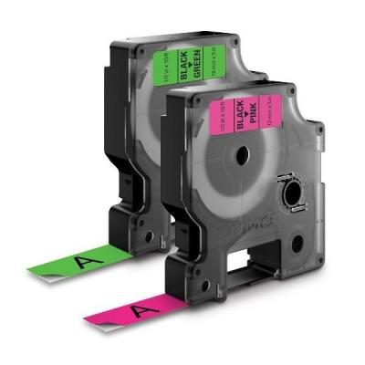 Dymo labelprinter tape: 2-PACK Letratag NEON tapes (pink and green)
