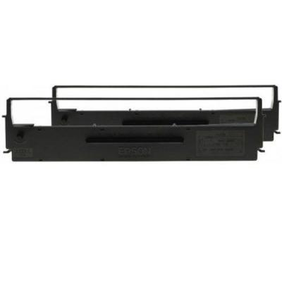 Epson printerlint: Ribbon Cartridge for LX-350/300+/300+II, Dualpack - Zwart