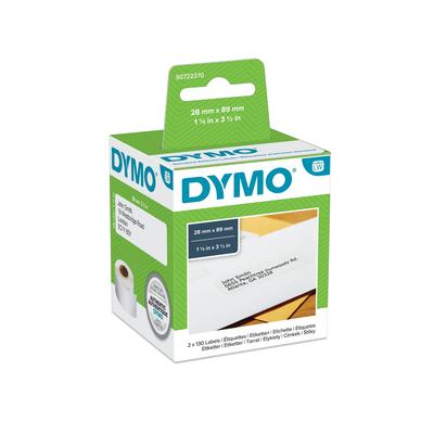 DYMO LW - Standard Address Labels - 28 x 89 mm - S0722370 Etiket - Wit