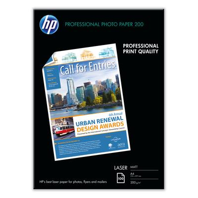 HP Professional Laser Photo Paper, mat, 100 vel, A4/210 x 297 mm Papier - Zwart,Blauw,Wit
