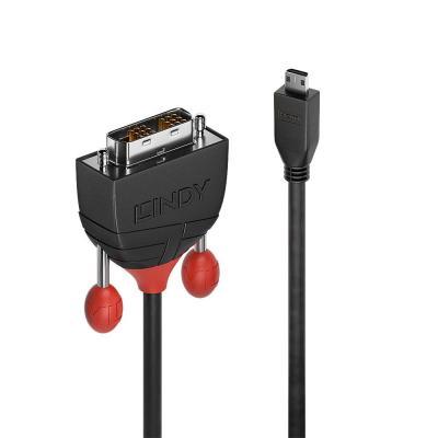 Lindy Micro HDMI - DVI-D, 2m, 32AWG, Black - Zwart