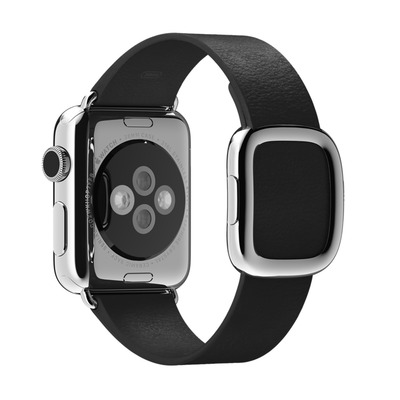 Apple : Zwart bandje, moderne gesp 38 mm, Large