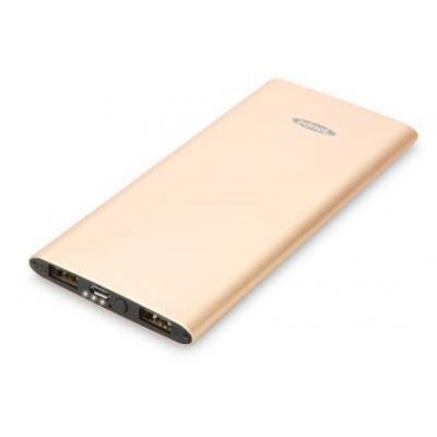 ASSMANN Electronic Slim Line, 5000 mAh, 2x USB, Aluminum, Gold Powerbank - Goud