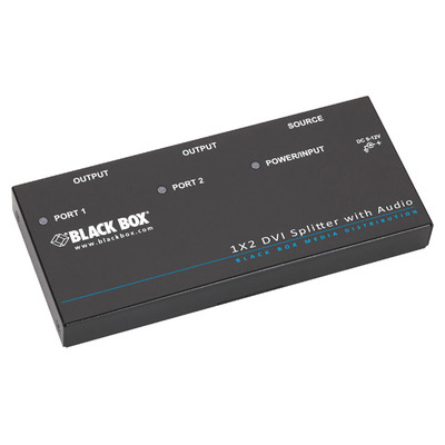 Black Box Single-Link DVI-D, 1080p, UXGA/WUXGA, 100 - 240 VAC, 50–60 Hz Video splitter - Zwart