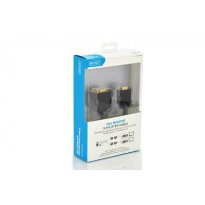 Digitus VGA kabel : 0.2m, VGA/2xVGA - Zwart