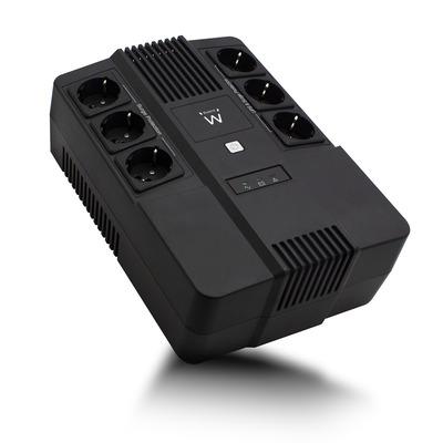 Ewent Line Interactive, 600 VA, 360 W, AVR, 6x Type F (CEE7/3) UPS - Zwart