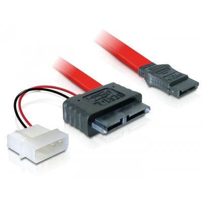 DeLOCK Cable SATA Slimline female + 2pin power > SATA ATA kabel - Rood