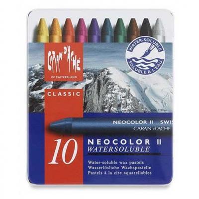 Caran d-ache pastel: NEOCOLOR II 10's - Blauw, Multi kleuren