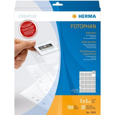 Herma hoes: Slide pockets for 35 mm slides for thin frames film clear/matt 100 pockets - Transparant