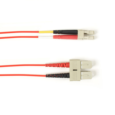 Black Box OM1 62.5-Micron Multimode Fiber Optic Patch Cable - LSZH, SC-LC, Red, 2-m (6.5-ft.) Fiber optic kabel
