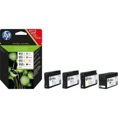 Hp inktcartridge: 950XL 4-pack kleur voor o.a. OfficeJet Pro 251dw & 276dw - Zwart, Cyaan, Magenta, Geel