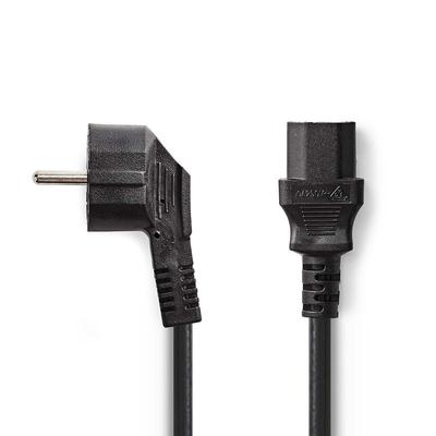 Nedis Schuko plug, angled, IEC-320-C13, 5.0 m, black Electriciteitssnoer - Zwart