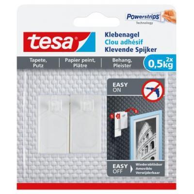 TESA Adhesive Nail for Wallpaper & Plaster 0.5kg, 2 Hooks + 3 Strips lijm - Wit