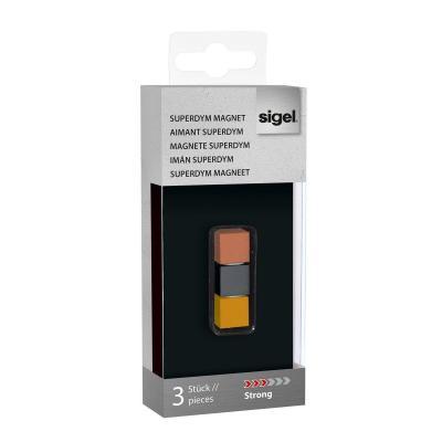Sigel koelkastmagneet: Cube design, Titanium grey, Copper, Gold, 11x11x11 mm, 3 pcs.