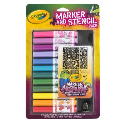 Crayola verf stift: Mini viltstiften en sjablonenset roze - Multi kleuren