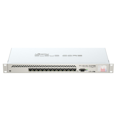 Mikrotik 1U, 12 x Ethernet, Auto-MDI/X, LCD, microUSB, RS-232 Router