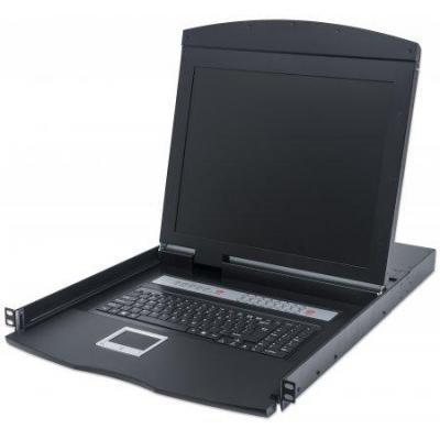 Intellinet rack console: 16-Port Rackmount LCD Console KVM Switch, 19'' LCD Panel, PS/2, USB, 1U