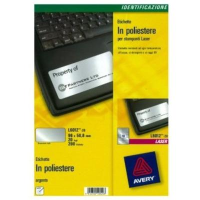 Avery L6012-20 Etiket - Zilver