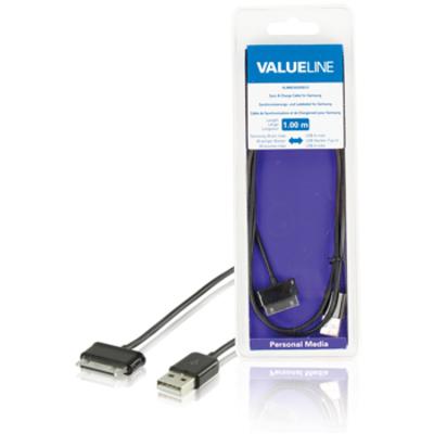 Valueline Sync & charge-voor Samsung 30-pins mannelijk - USB A mannelijk zwart 1,00 m Kabel