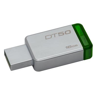 Kingston technology USB flash drive: DataTraveler 50 16GB - Groen, Zilver