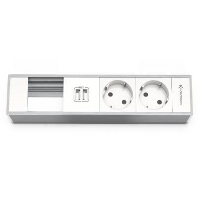 Kindermann Module Panel for 4 pl., 2 x mains, USB Inbouweenheid - Aluminium, Wit