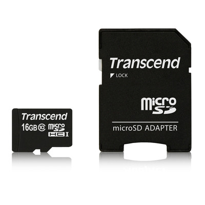 Transcend , 16GB, microSDHC, Class 10, 90MB/s with Adapter Flashgeheugen - Zwart