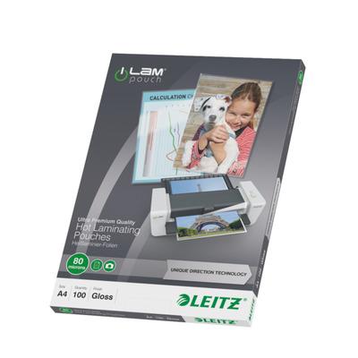 Leitz laminatorhoes: Lamineerhoes UDT A4, 80 micron (verpakking 100 stuks)