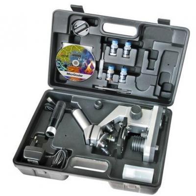 Bresser optics microscoop accessoire: Junior Microscoop set 40x-1024x met koffer - Zwart, Zilver