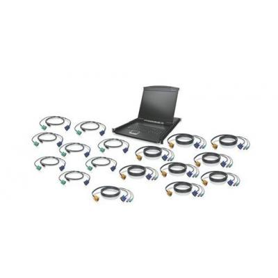 "Iogear KVM Drawer Kit w/ USB KVM Cables, 16-Port, 48.26 cm (19"") LCD Rack console - Zwart"