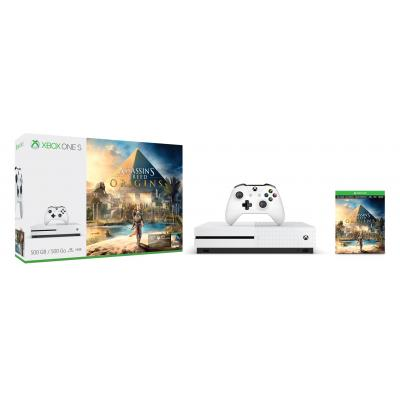 Microsoft spelcomputer: Xbox One S 500GB Assassin's Creed Origins Bundle - Wit