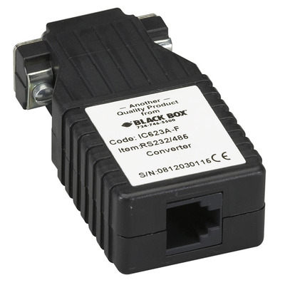 Black Box RS-232 to RS-485 Interface Converter, DB9 Female to RJ-11 Seriele converter/repeator/isolator - Zwart