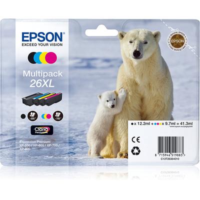 Epson Polar bear Multipack 4-colours 26XL Claria Premium Ink Inktcartridge - Zwart, Cyaan, Magenta, Geel