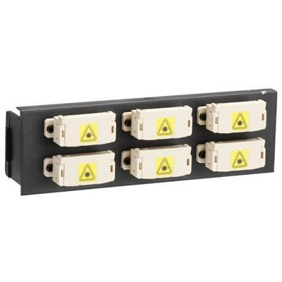 Molex patch panel accessoire: 12 Port Swing-Out fiber Panel Front Plate, Shuttered Duplex SC, MM - Zwart, Wit