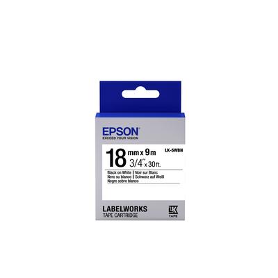 Epson Standard Tape- LK-5WBN Std Blk/Wht 18/9 Labelprinter tape