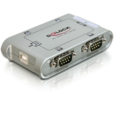 Delock hub: 4 Port USB 2.0 Serial Hub - Zilver