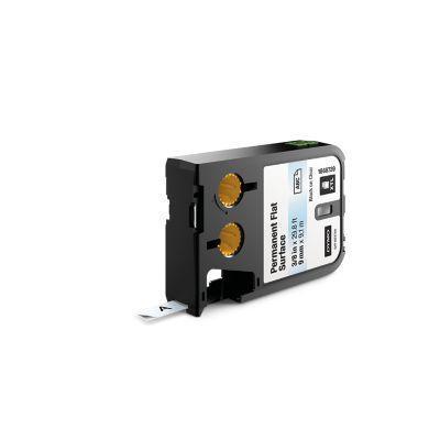 "Dymo labelprinter tape: XTL 3/8"" (9 mm) permanent vlak oppervlak, zwart op transparant"