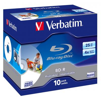 Verbatim BD: BD-R SL 25GB 4x Printable 10 Pack Jewel Case