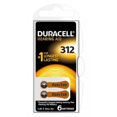 Duracell Hearing Aid-batterijen maat 312, verpakking van 6 batterij