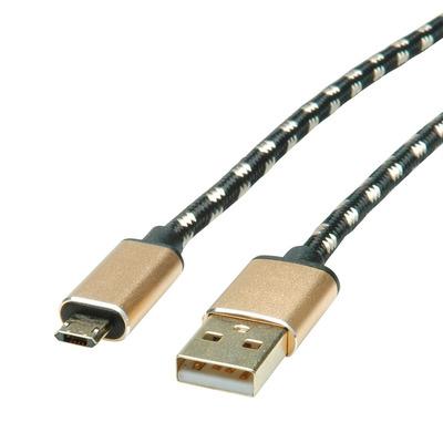 ROLINE USB A - USB Micro-B, M/M, USB 2.0, 0.8 m USB kabel - Zwart,Goud