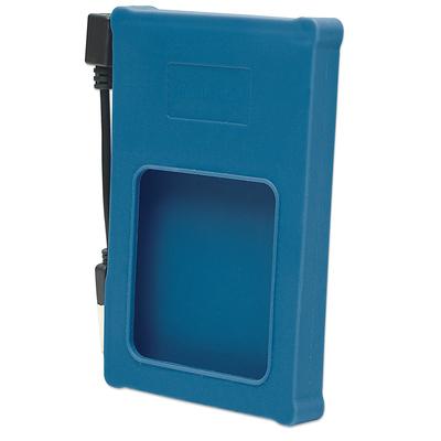 "Manhattan Drive Enclosure, USB 2.0, SATA, 2.5"", Blue, Silicone, Windows or Mac, Blister Behuizing - Blauw"