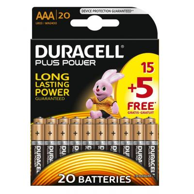 Duracell Plus Power alkaline AAA-batterijen, verpakking van 20 batterij - Zwart, Goud