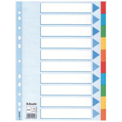 Esselte schutkaart: Multicoloured Card Divider - Multi kleuren
