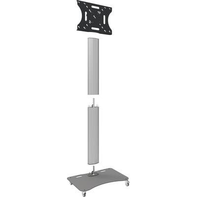 """SmartMetals Deelbare trolley max. 65"""" incl. bracket max. VESA 600-400 Monitorarm - Aluminium, Grijs"""