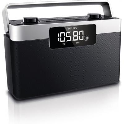 Philips radio: Draagbare radio, LCD, FM, MW, 1W RMS, Zwart/Zilver - Zwart, Zilver
